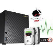 Sistema de Backup NAS com Disco Ironwolf Asustor AS3204T24000 Celeron Quad Core 1,6GHZ 2GB DDR3 Torre 24TB