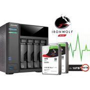 Sistema de Backup NAS com Disco Ironwolf Asustor AS6104T40000 INTEL Dual Core J3060 1,6GHZ 2GB DDR3 Torre 40TB
