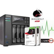 Sistema de Backup NAS com Disco Ironwolf Asustor AS6204T48000 INTEL Quad Core J3160 1,6GHZ 4GB DDR3 Torre 48TB