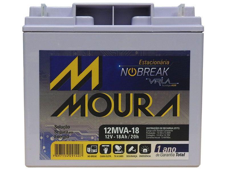 Bateria Moura Estacionaria 12V 18AH Selada Nobreak Alarme 12MVA-18