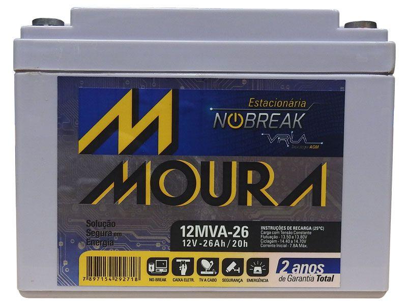 Bateria Moura Estacionaria 12V 26AH Selada Nobreak Alarmes 12MVA-26