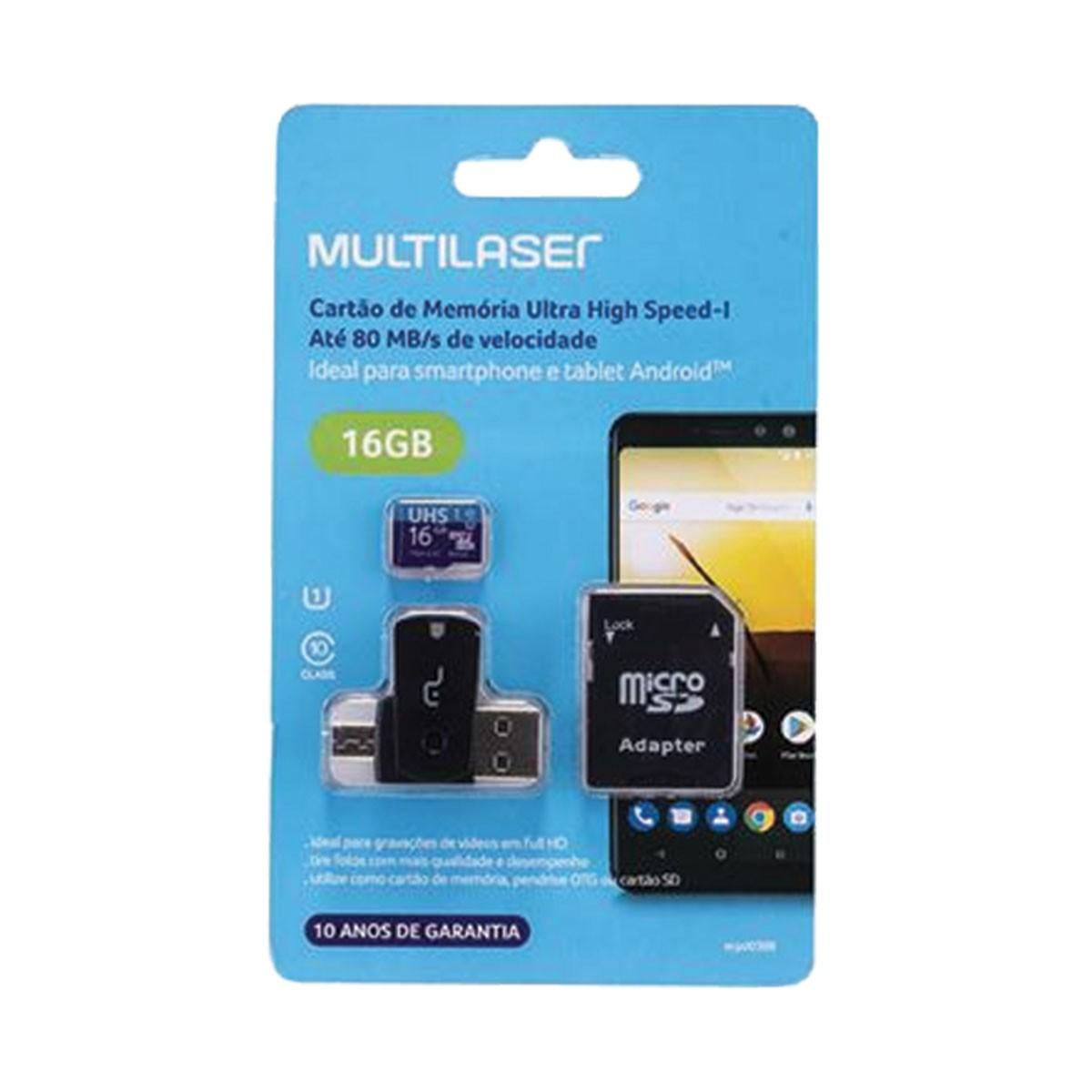 Cartão de Memória 4X1 ULTRA HIGH Speed ATE 80 MB/S UHS1 16GB +adaptador SD USB Dual MC150 Classe 10