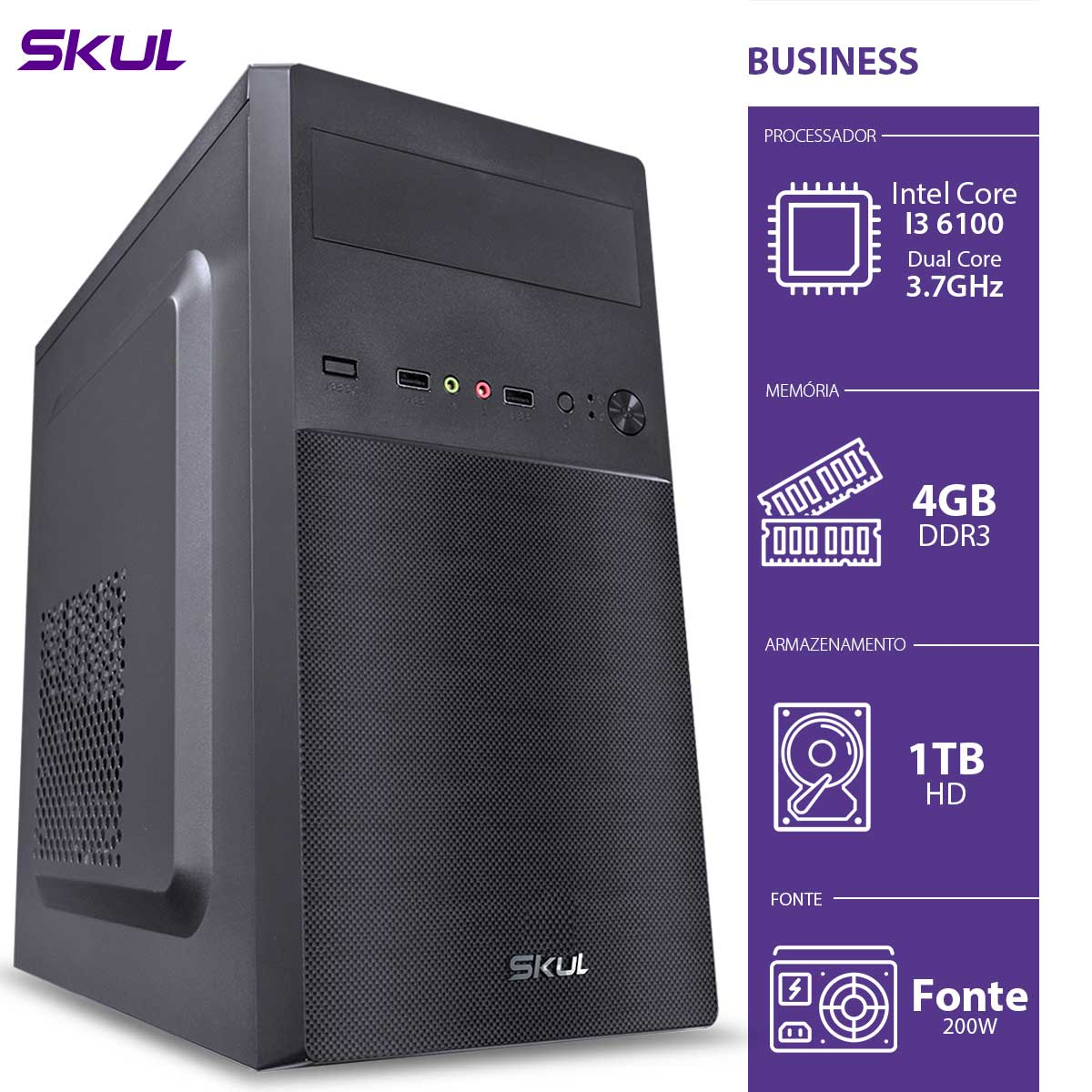 Computador Business B300 - I3-6100 3.7GHZ 4GB DDR3 HD 1TB HDMI/VGA Fonte 200W