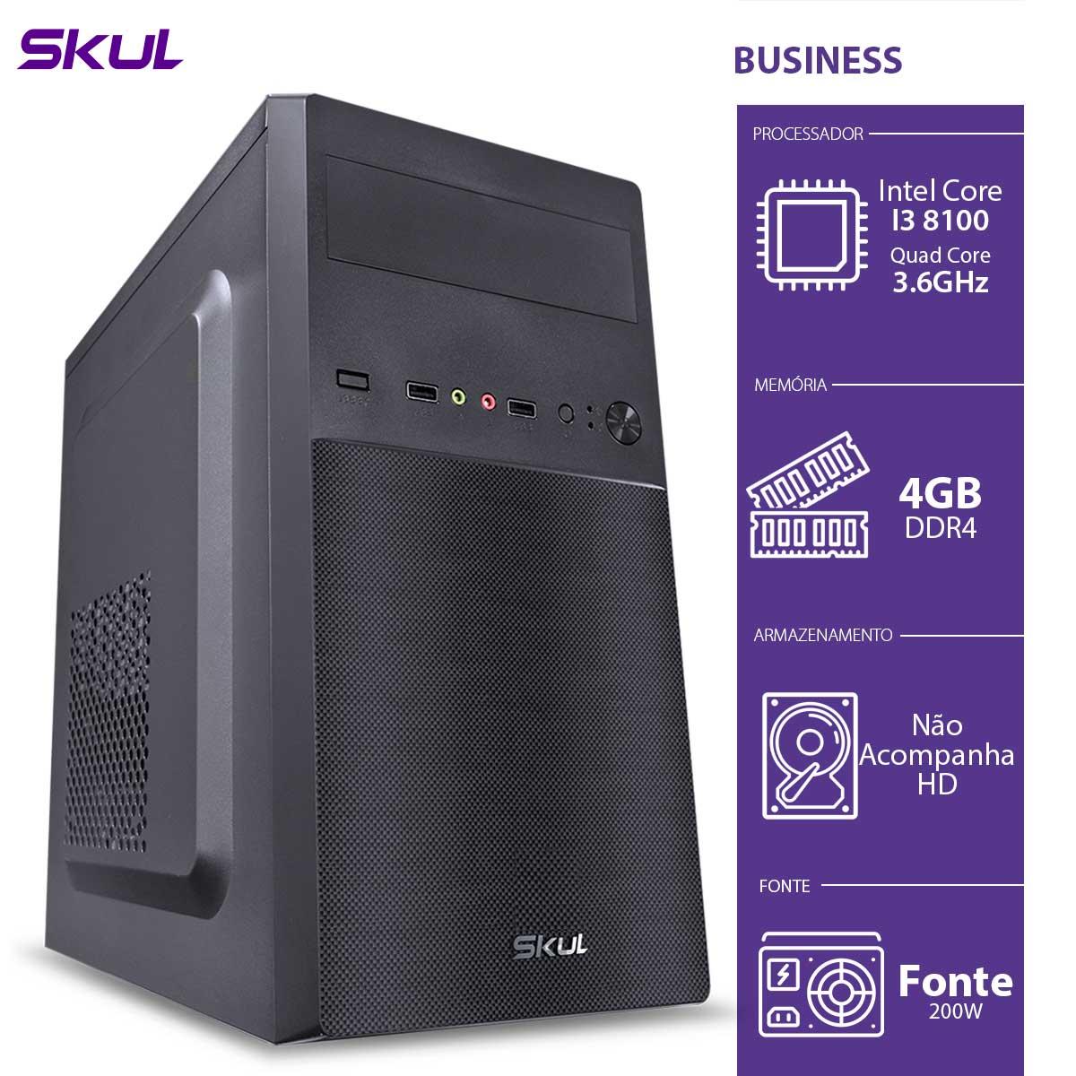 Computador Business B300 - I3-8100 3.6GHZ 4GB DDR4 sem HD/SSD HDMI/VGA Fonte 200W