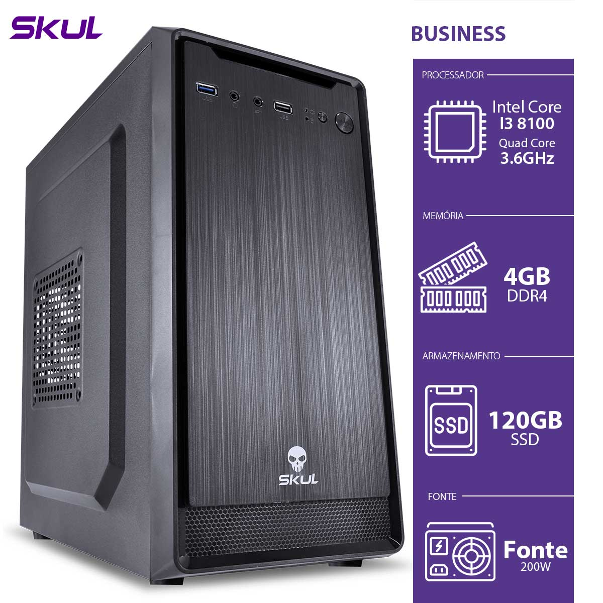 Computador Business B300 - I3-8100 3.6GHZ 4GB DDR4 SSD 120GB HDMI/VGA Fonte 200W