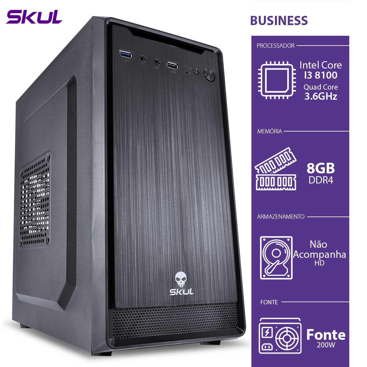 Computador Business B300 - I3-8100 3.6GHZ 8GB DDR4 sem HD/SSD HDMI/VGA Fonte 200W