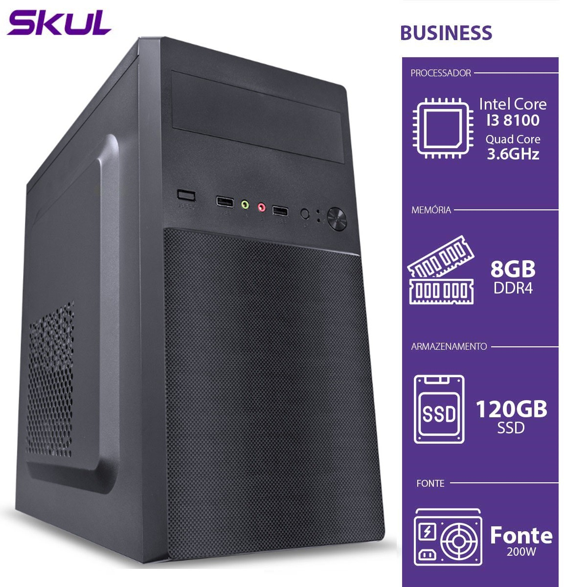 Computador Business B300 - I3-8100 3.6GHZ 8GB DDR4 SSD 120GB HDMI/VGA Fonte 200W