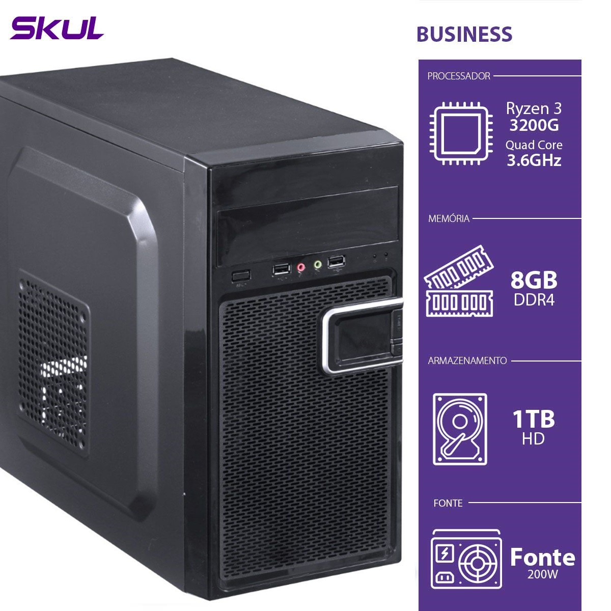 Computador Business B300 - R3-3200G 3.6GHZ 8GB DDR4 HD 1TB HDMI/VGA Fonte 200W