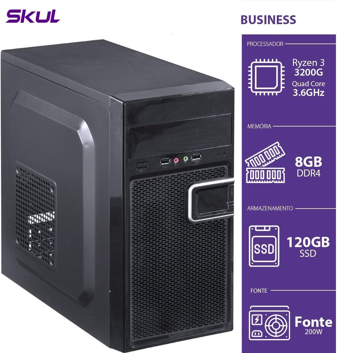 Computador Business B300 - R3-3200G 3.6GHZ 8GB DDR4 SSD 120GB HD 1TB HDMI/VGA Fonte 200W