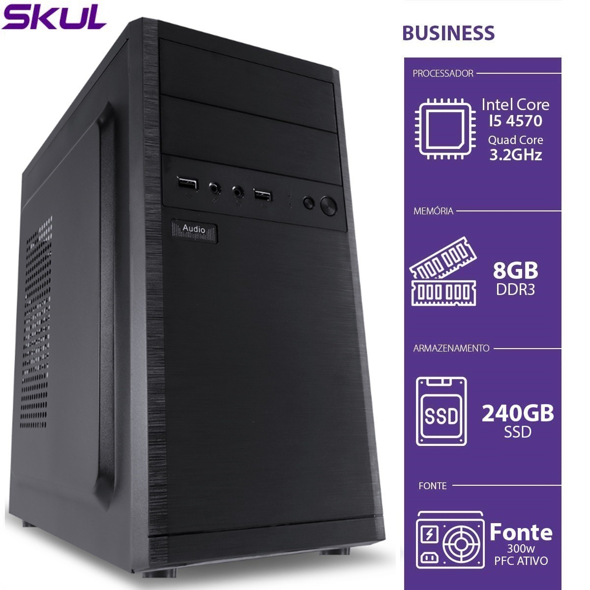 Computador Business B500 - I5-4570 3.2GHZ 8GB DDR3 SSD 240GB HDMI/VGA Fonte 300W