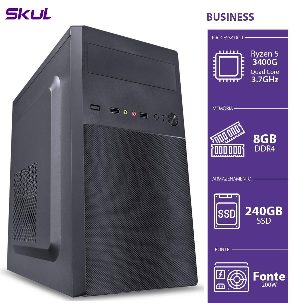 Computador Business B500 - RYZEN 5 3400G 3.7GHZ 8GB DDR4 SSD 240GB HDMI/VGA Fonte 200W