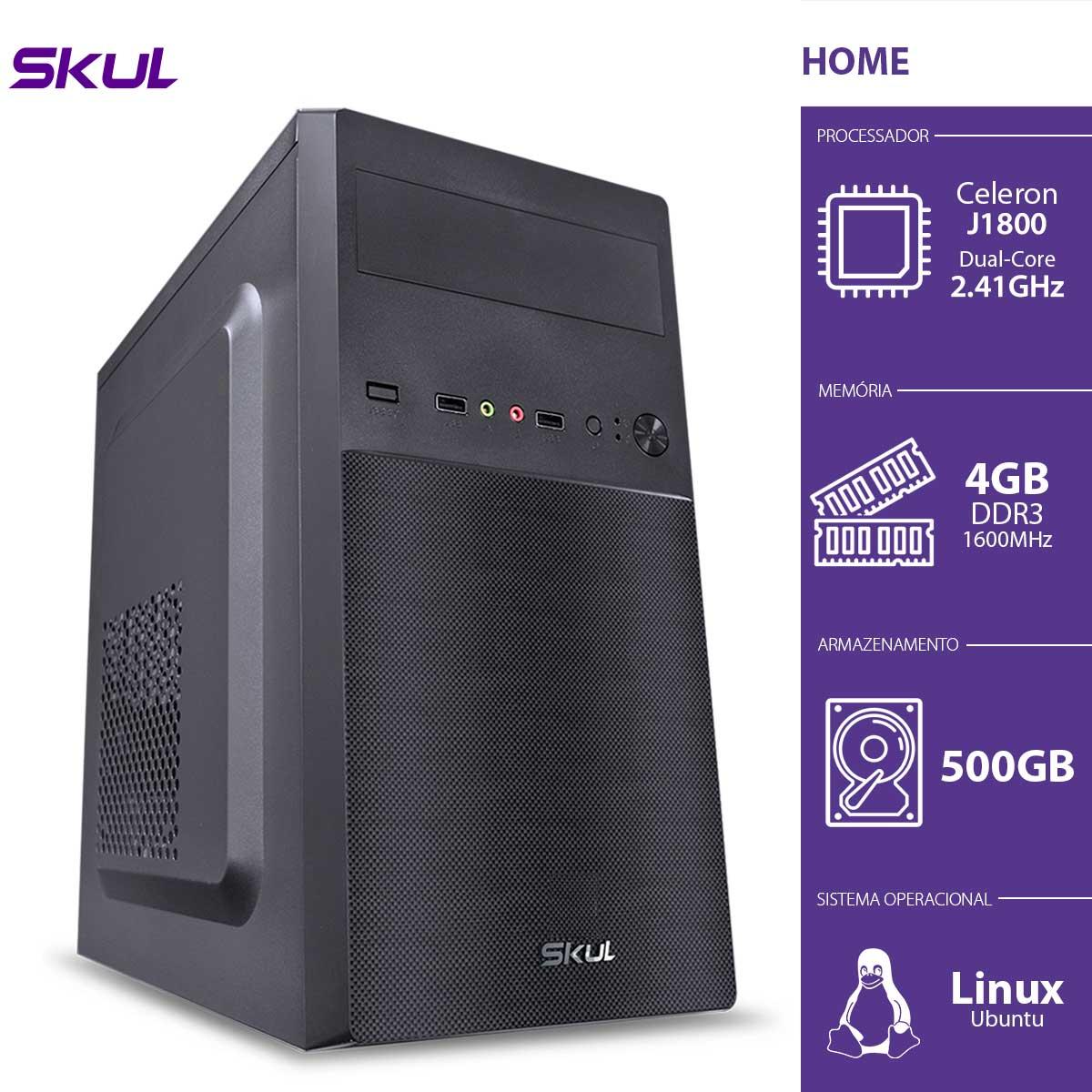 Computador Home H100 - Celeron Dual Core J1800 2.41GHZ 4GB DDR3 Sodimm HD 500GB HDMI/VGA Fonte 200W
