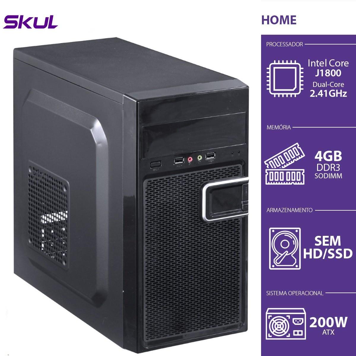 Computador Home H100 - Celeron Dual Core J1800 2.41GHZ 4GB DDR3 Sodimm sem HD/SSD HDMI/VGA Fonte 200W - HJ18004