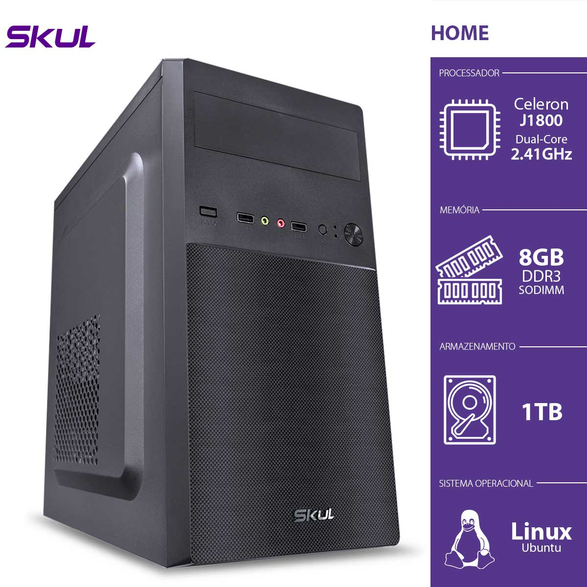 Computador Home H100 - Celeron Dual Core J1800 2.41GHZ 8GB DDR3 Sodimm HD 1TB HDMI/VGA Fonte 200W