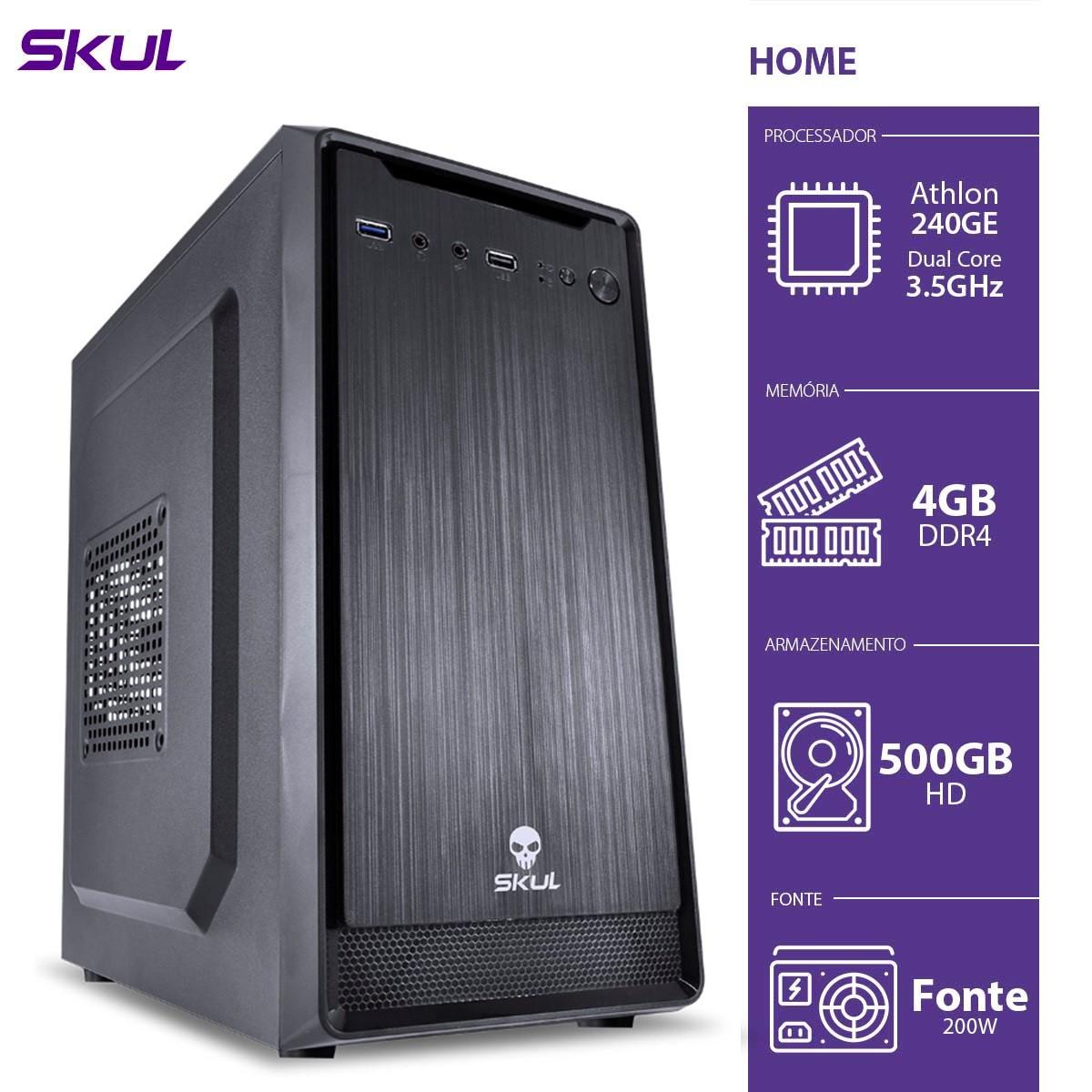 Computador Home H200 - ATHLON Dual Core 240GE 3.5GHZ 4GB DDR4 HD 500GB HDMI/VGA Fonte 200W - H240GE5004 - SKUL