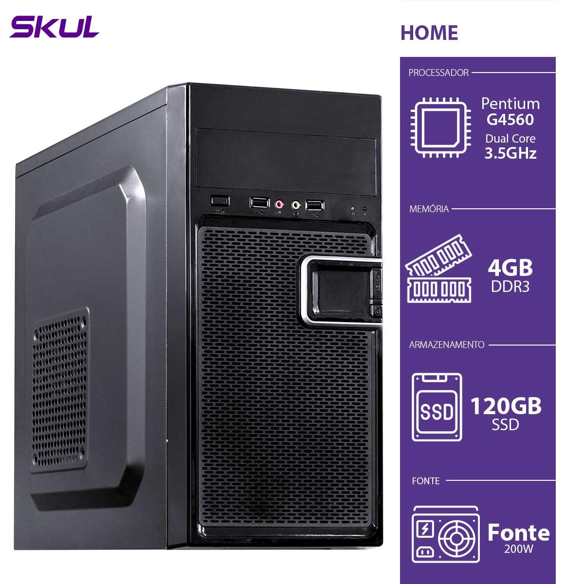 Computador Home H200 - Pentium Dual Core G4560 3.5GHZ 4GB DDR3 SSD 120GB HDMI/VGA Fonte 200W - HG45601204D3 - SKUL