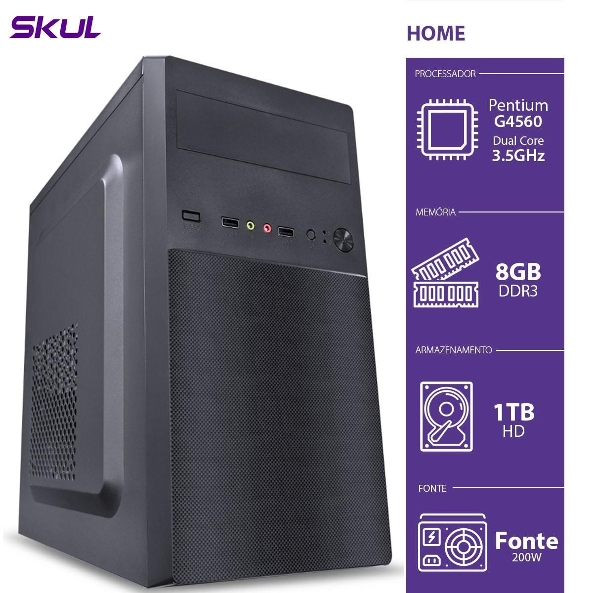 Computador Home H200 - Pentium Dual Core G4560 3.5GHZ 8GB DDR3 HD 1TB HDMI/VGA Fonte 200W - HG45601T8D3 - SKUL