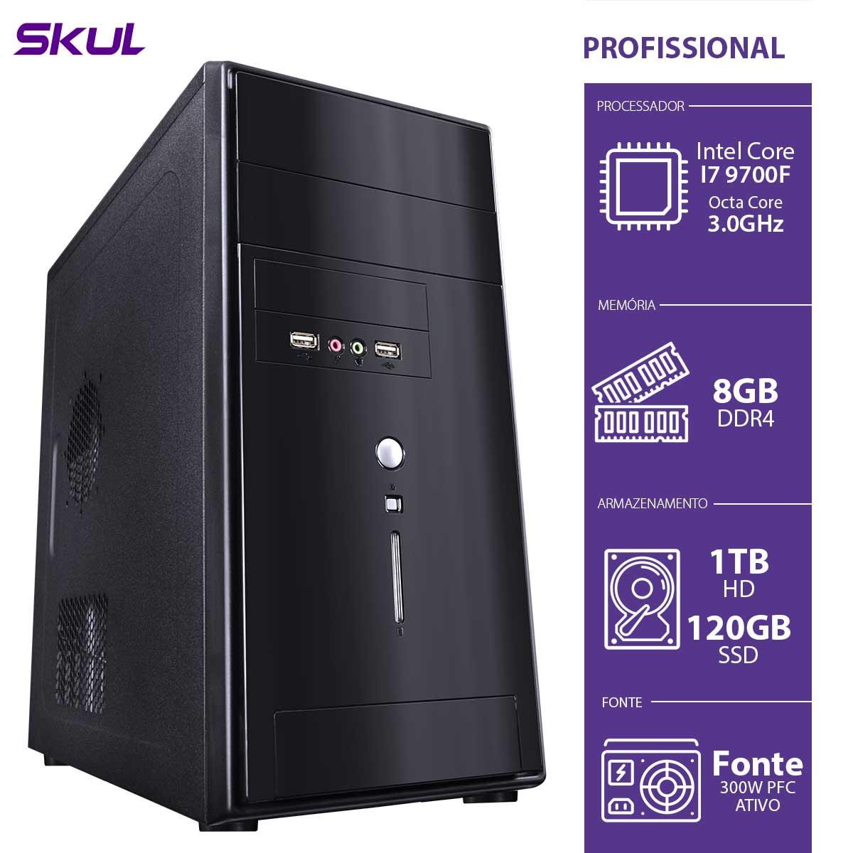 Computador Profissional P500 - I7-9700F 3.0GHZ MEM 8GB DDR4 SSD 120GB HD 1TB sem Video Integrado Fonte 300W PFC Ativo