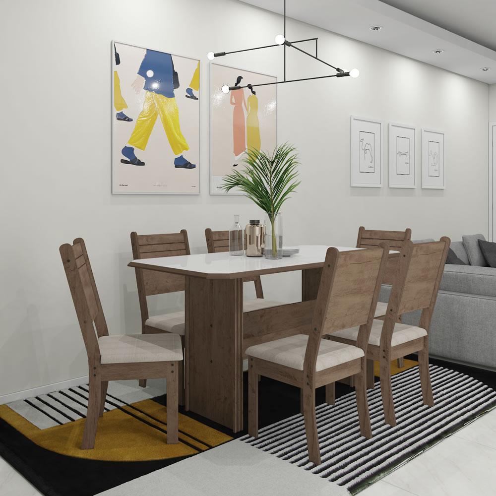 Conjunto Mesa de jantar New Charm 150x76cm Mesa com 6 cadeiras Marrom e Bege