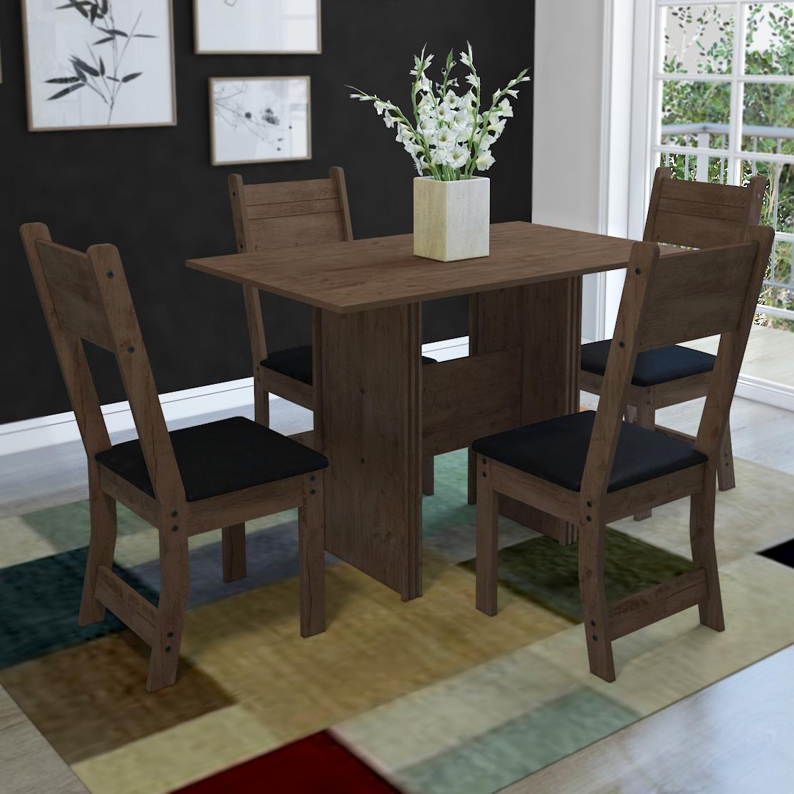 Conjunto Mesa de Jantar Sevilha Mesa com 4 cadeiras 110x68cm Marrom e Preto