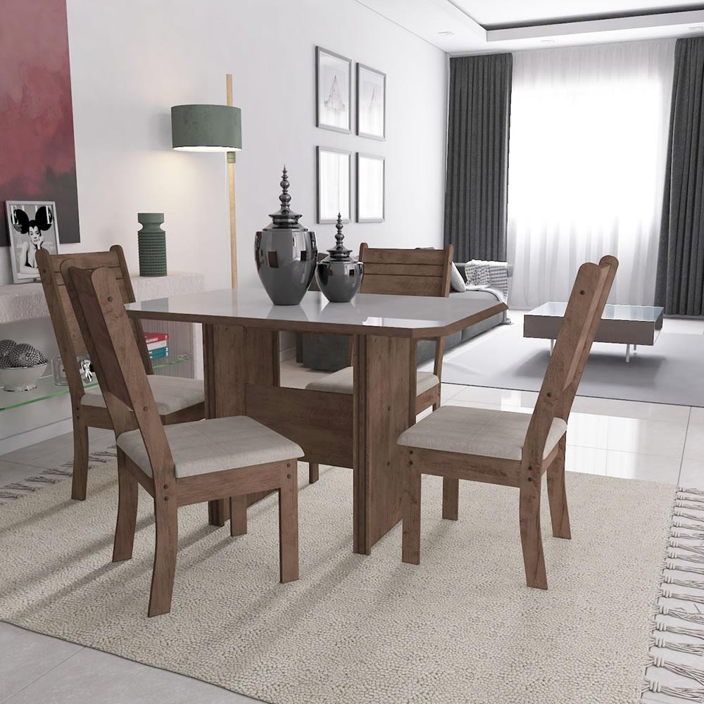 Conjunto Mesa de Jantar Vigo 110x76cm Mesa com 4 cadeiras Marrom e Bege