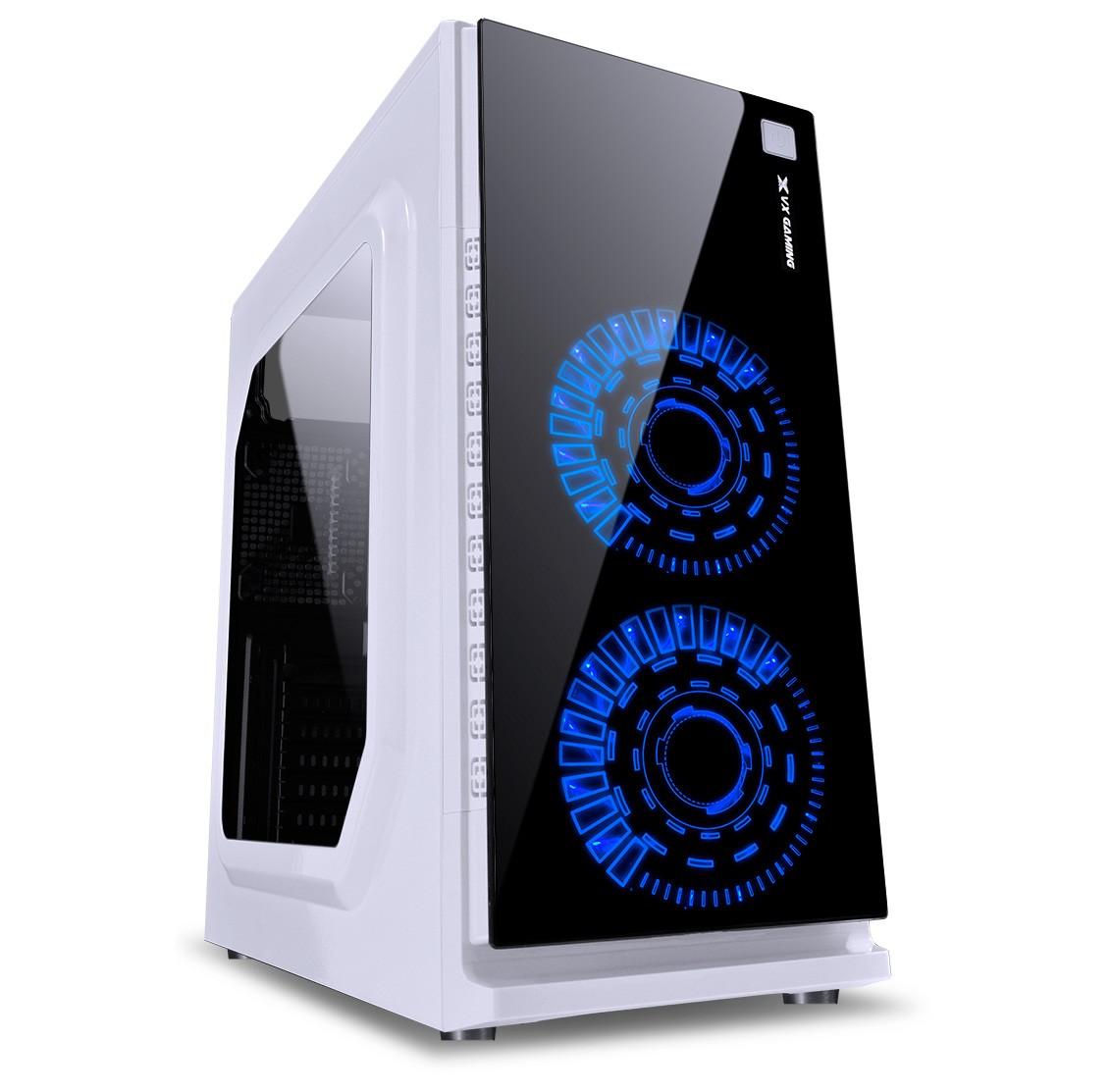 Gabinete Gamer VX Gaming Crater com Janela Acrilica Branco com 2 X FAN Frontal 120MM 15 Pontos de LED AZUL