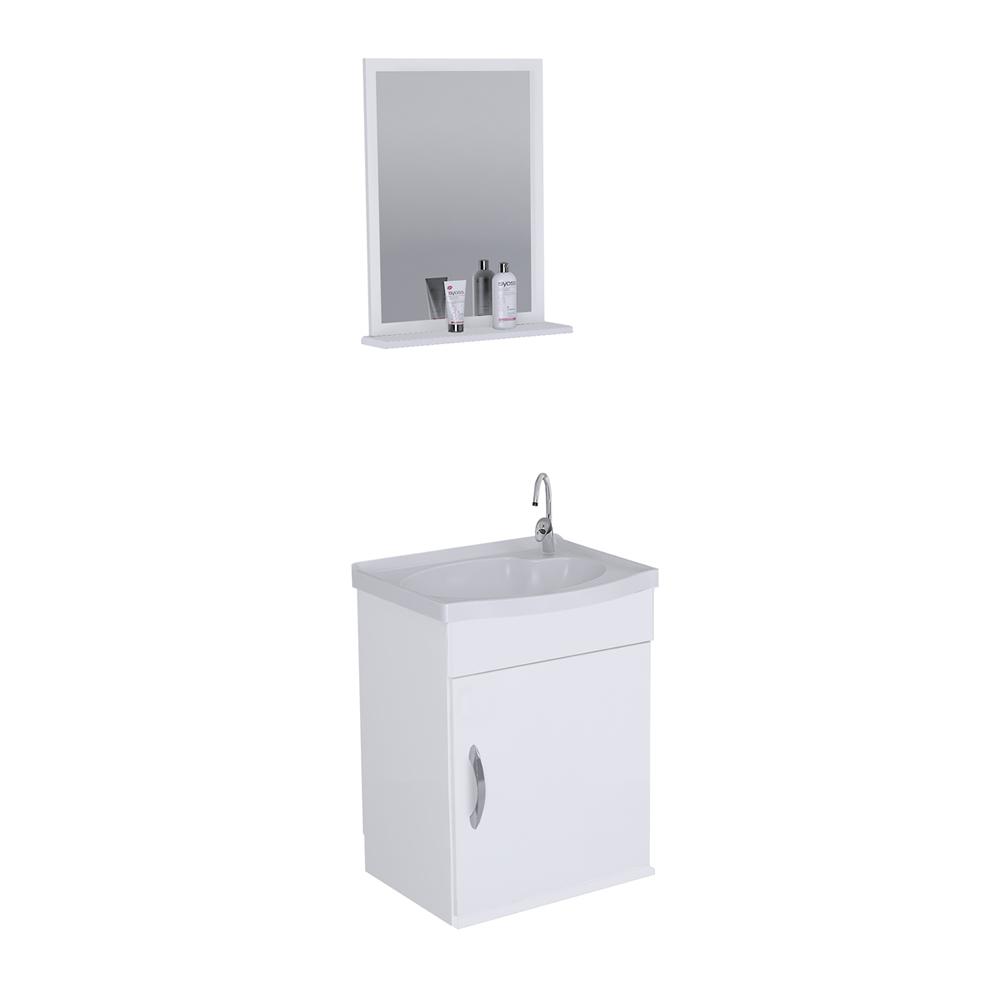 Gabinete para Banheiro com Cuba 1 Gaveta Suspenso Branco 39cm J Rorato