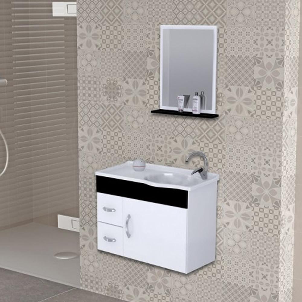 Gabinete para Banheiro com Cuba 2 Gavetas Suspenso Siena Branco/Preto 55,5cm J Rorato
