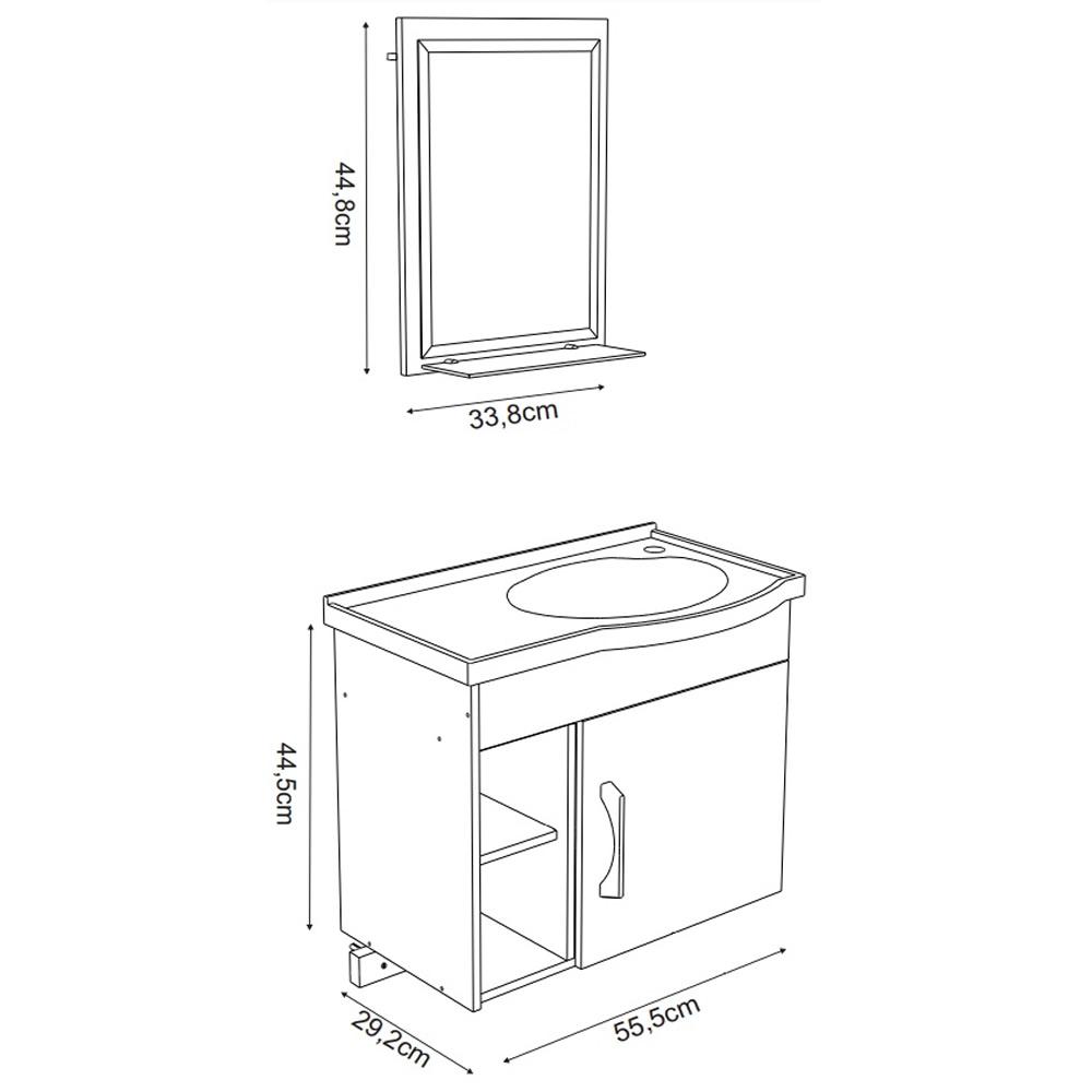 Gabinete para Banheiro com Cuba 3 Nichos Suspenso Turim Branco/Castaine 55,5cm J Rorato