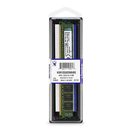 Memória RAM Kingston 8GB Ddr3 1333mhz 1.5v - Desktop - Kvr1333d3n9/8g