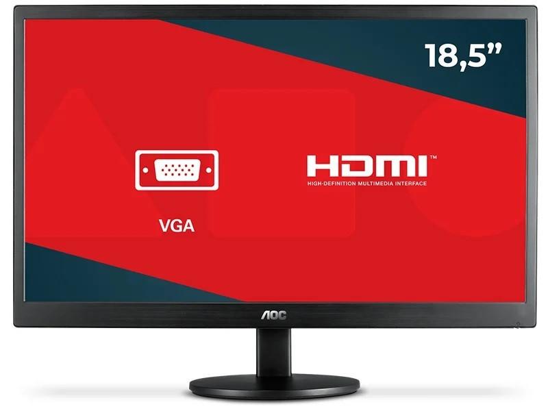Monitor AOC LED 18.5´ Widescreen, VGA - E970SWNL - Preto