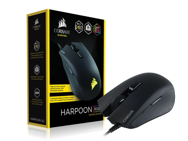 Mouse Gamer Corsair CH-9301011-NA Harpoon 6000DPI Multicalor RGB Preto