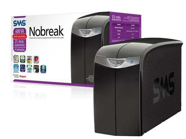 Nobreak Interactive SMS 27395 Station II 600 Entrada Bivolt e Saida 115V 4 Tomadas