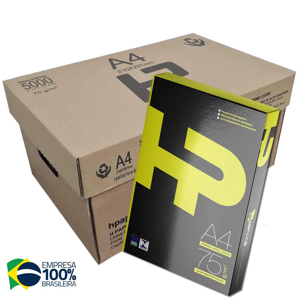 Papel Sulfite A4 Hpapper Branco pacote 500 folhas 75g - Caixa com 5 unidades