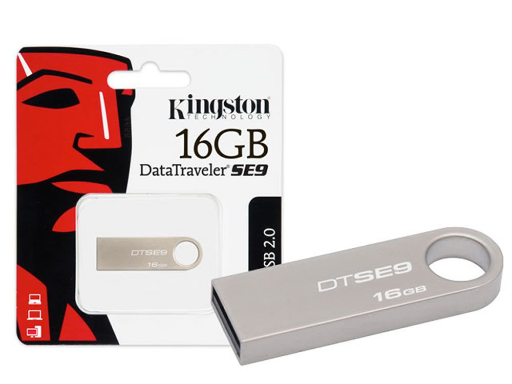 Pen Drive Kingston 16GB Prata Datatraveler SE9 USB 2.0 DTSE9H/16GBZ