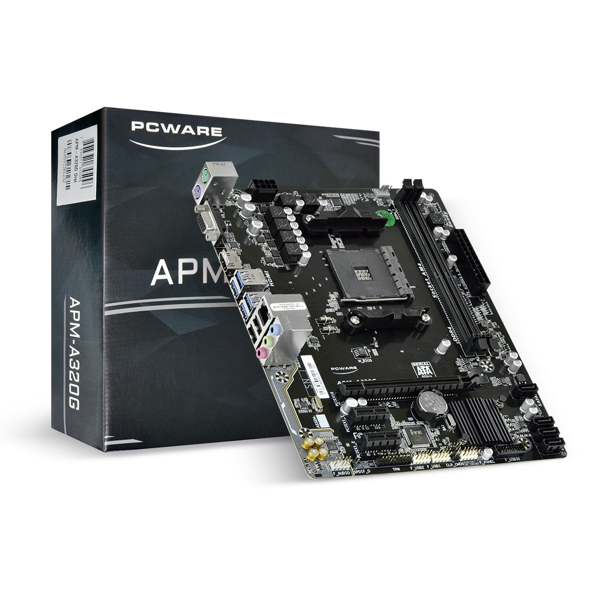 Placa Mãe Pcware P/ AMD Ryzen Matx APM-A320G, 2XDDR4 32GB, HDMI, VGA, 2X Pcie, 1XPCI X16, USB 3.0