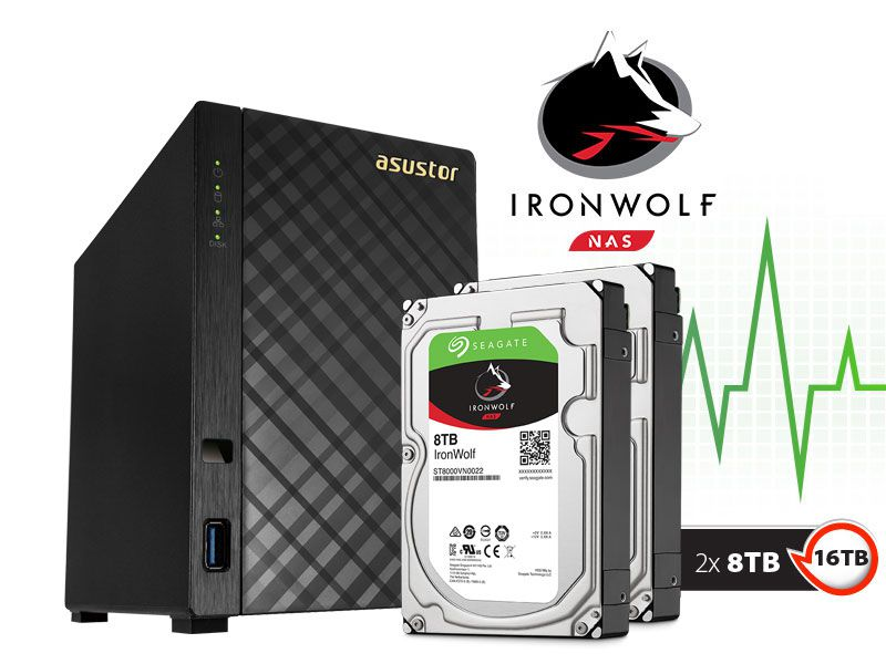 Sistema de Backup NAS com Disco Ironwolf Asustor AS1002T16000 V2 Marvell Dual Core 1,6 GHZ 512MB DDR3 Torre 16TB