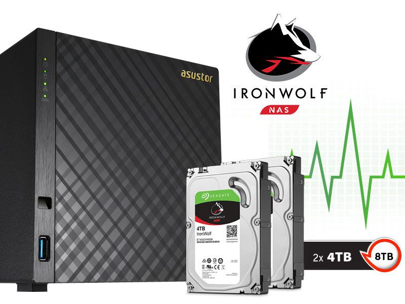 Sistema de Backup NAS com Disco Ironwolf Asustor AS3104T8000 Celeron Dual Core 1,6GHZ 2GB DDR3 Torre 8TB