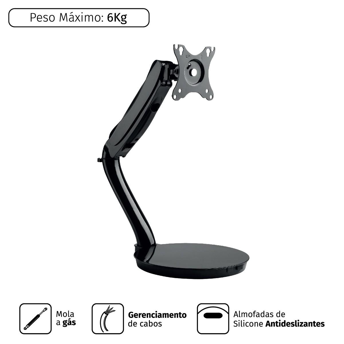 Suporte a GÁS Articulado Monitor 13´´ a 27´´ Vesa 100X100 PLMSM01C