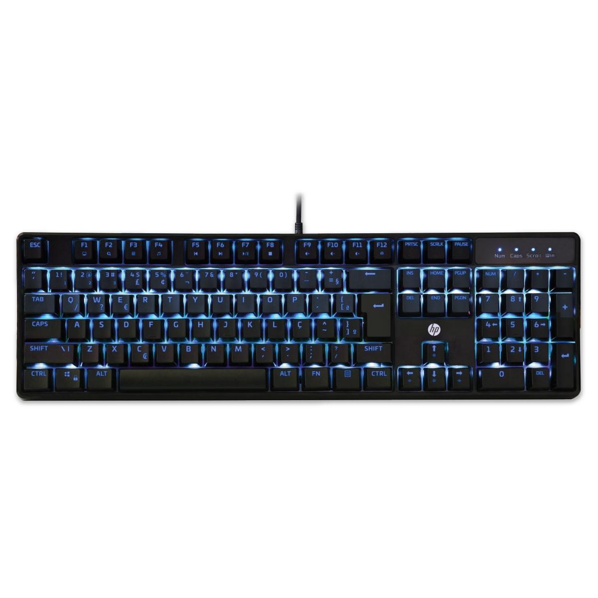 Teclado Mecânico HP Gamer GK320 Black ABNT2 Switch Blue