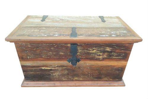 Baú Rústico Jaspe P Em Madeira De Demolição - Cód 1233
