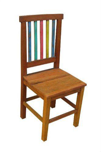 Cadeira Rústica Arco-Íris em Madeira de Demolição - Cód 240
