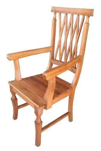 Cadeira Rústica Charmeaut com Braços em Madeira de Demolição - Cód 906