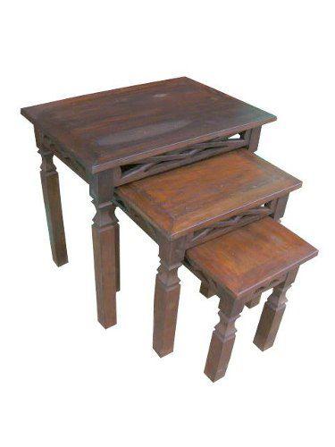 Conjunto Mesas Rústicas de Apoio Campone em Madeira de Demolição - Cód 1156