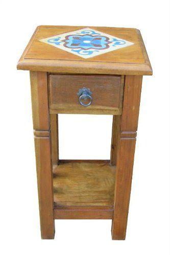 Mesa de Cabeceira Stamps Em Madeira De Demolição - Cód 1303