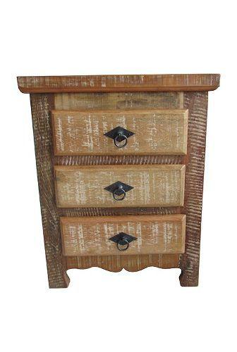 Mesa de Cabeceira Tiffany Em Madeira De Demolição - Cód 1720