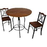Jogo de Mesa Elton Com 2 Cadeiras Em Madeira E Ferro - Cód 428