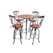 Jogo de Mesa com 4 Cadeiras Giratórias em Madeira e Ferro