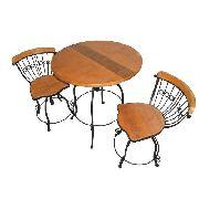 Jogo de Mesa Com 2 Cadeiras Reguláveis em Madeira e Ferro - Cód 1813