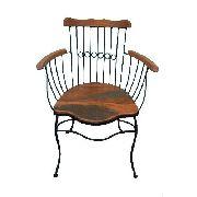 Cadeira Fumaça Em Madeira E Ferro - Cód 412
